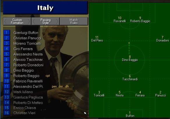 Italy team vs Yugoslavia