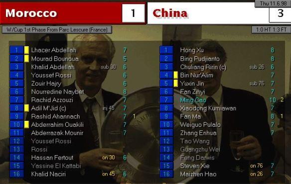 morocco 1 - 3 china
