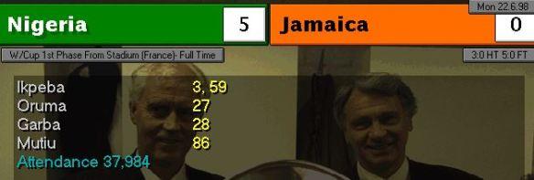nigeria jamaica scoreboard