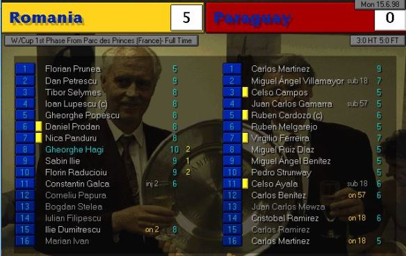 romania 5 - 0 paraguay FT ratings