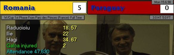 Romania 5 - 0 Paraguay SCoreboard