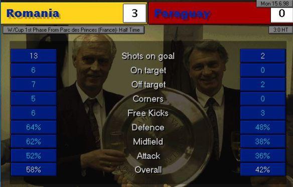 romania paraguay HT stats