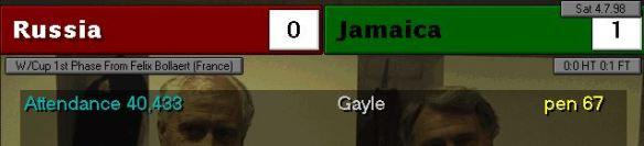 russia 0 - 1 jamaica