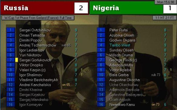 russia 2 - 1 nigeria FT ratings