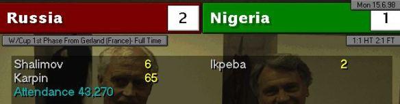 russia 2 - 1 nigeria FT scoreboard