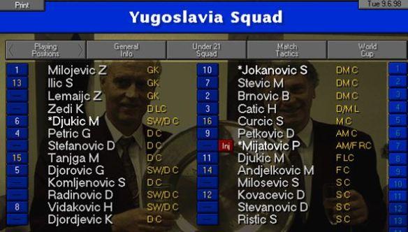 Yugoslavia squad
