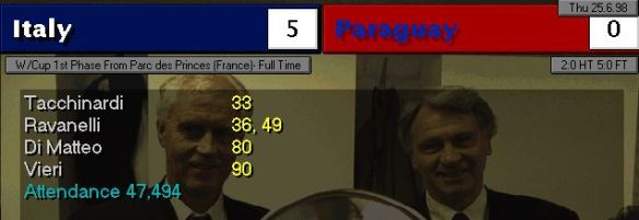 italy 5 - 0 paraguay