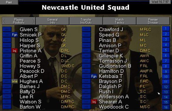 NUFC starting squad