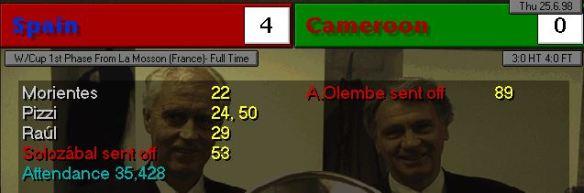 spain cameroon scoreboard