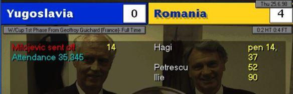yugo romania scoreboard