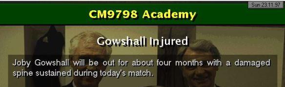 gowshall injured