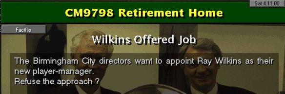Wilkins off
